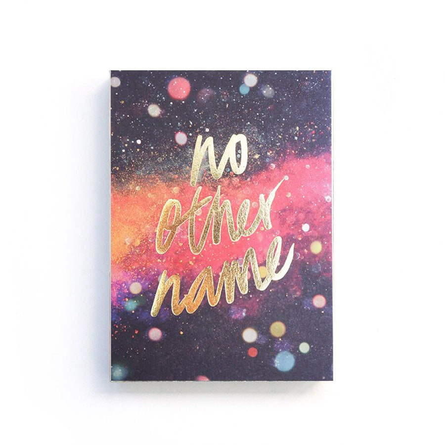 192 Pages notebook made of eco-friendly tree-free palm paper. Measures 105mm (W) x 148mm (H) x 17mm (D). 400gsm cover, 80 gsm inlay, coptically binded. Features ' no other name' Christian notebook.