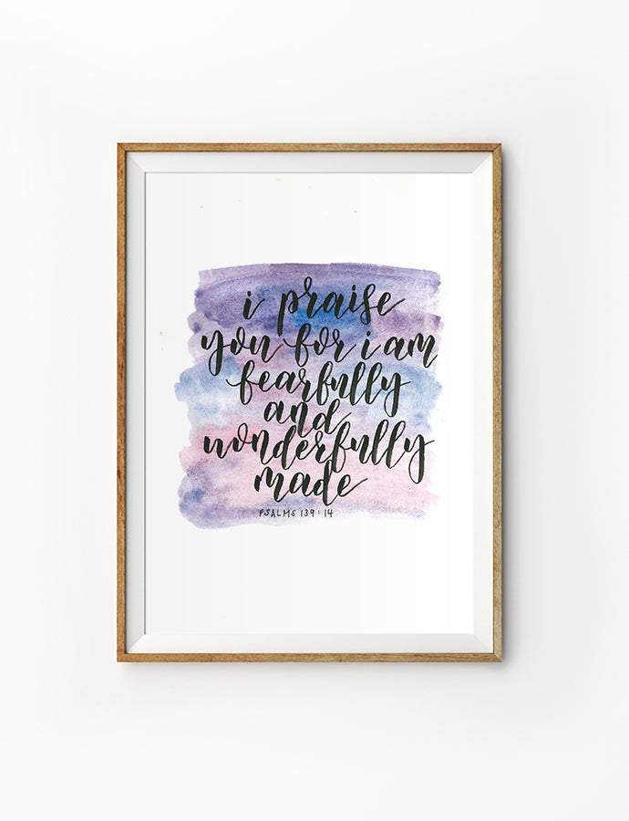 Fearfully and Wonderfully Made (Purple) {Poster}