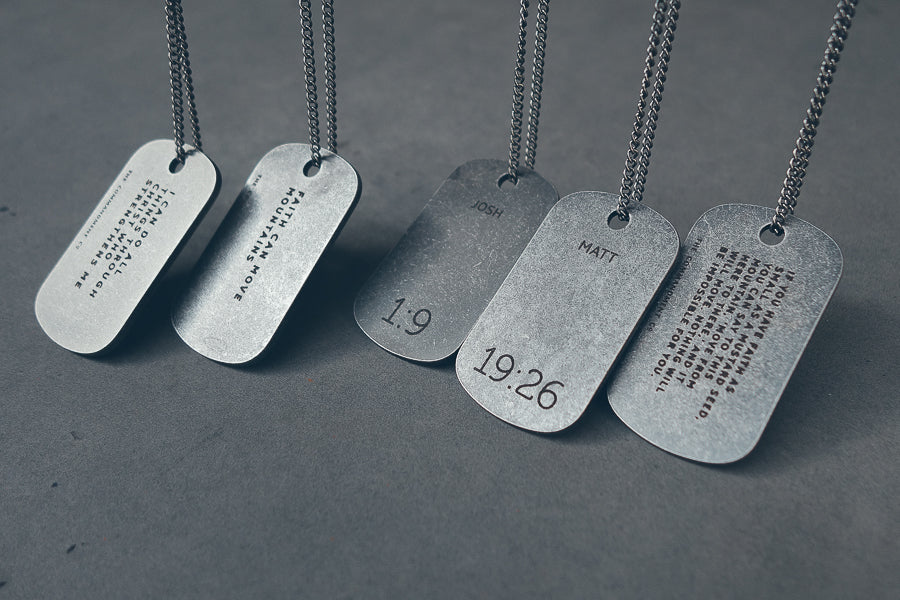 Gunmetal Dog Tag Necklace