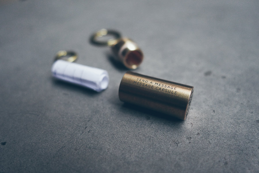 Mini Capsule Brass Keychain