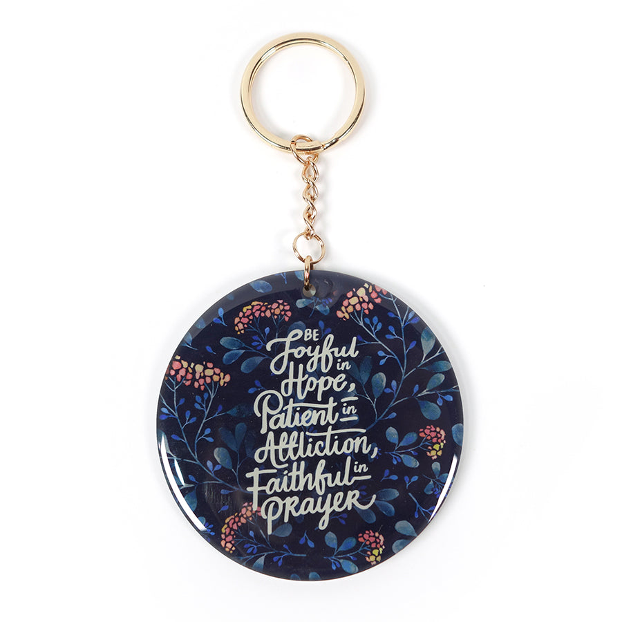 Verse key ring be joyful in hope patient in affliction faithful in prayer