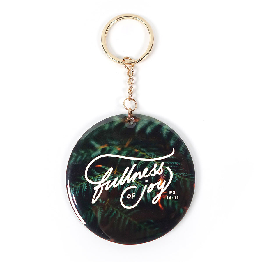 Fullness of joy contemporary gold key chain