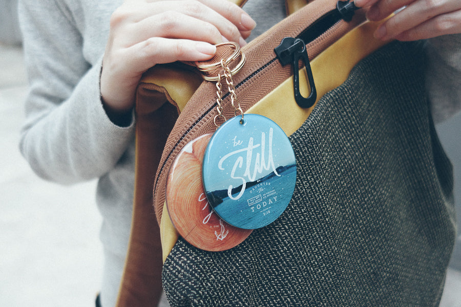 Hang keychains on your bags with The Commandment Co verse keychains