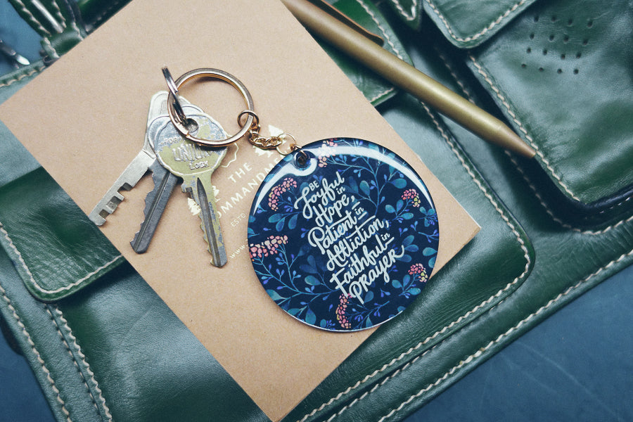 Keychain for bags with inspiring quotes from Christian store