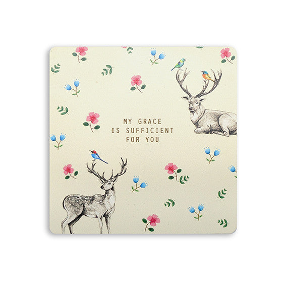 My Grace is sufficient for you deer design coaster