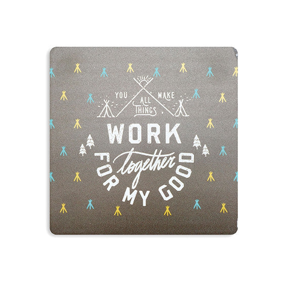 "10cmx10cm blue wooden coaster with mountain designs and encouragement bible verse ""You make all things work together for my good""."