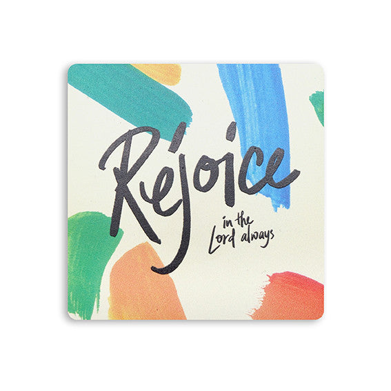 "10cmx10cm colourful wooden coaster with encouragement bible verse ""Rejoice in the Lord always"""