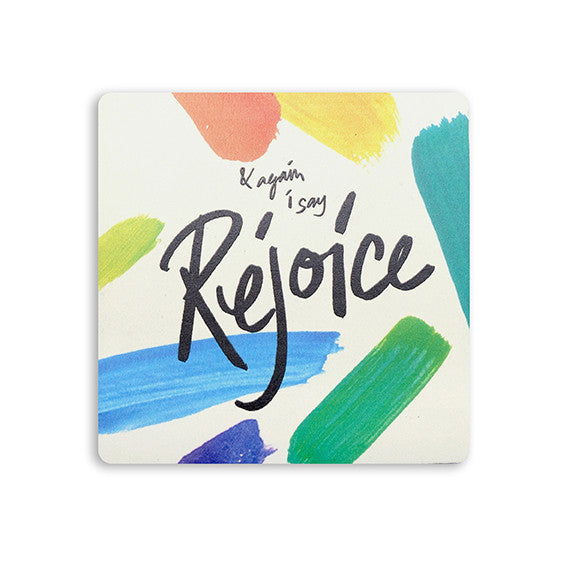 "10cmx10cm colourful wooden coaster with encouraging bible verse ""& again i say rejoice""."