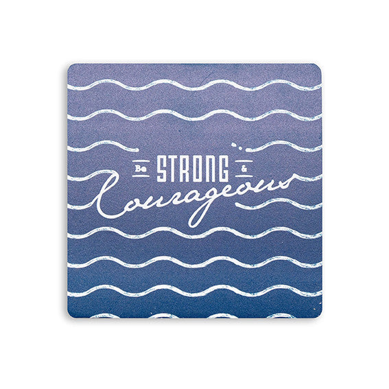 10cm x 10cm blue wooden coaster with waves design and bible verse from Joshua 1:9 Be strong and courageous.