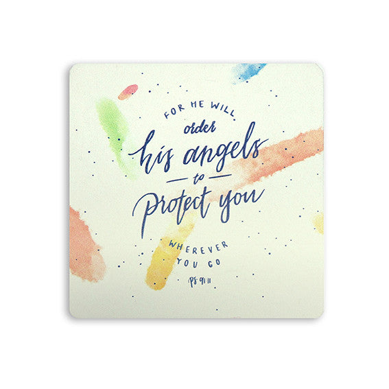 "10cmx10cm white wooden coaster with encouraging bible verse ""Psalm 91:11""."