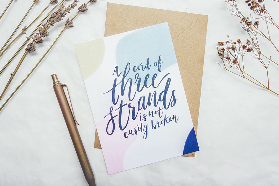 A cord of three strands is not easily broken greeting card design