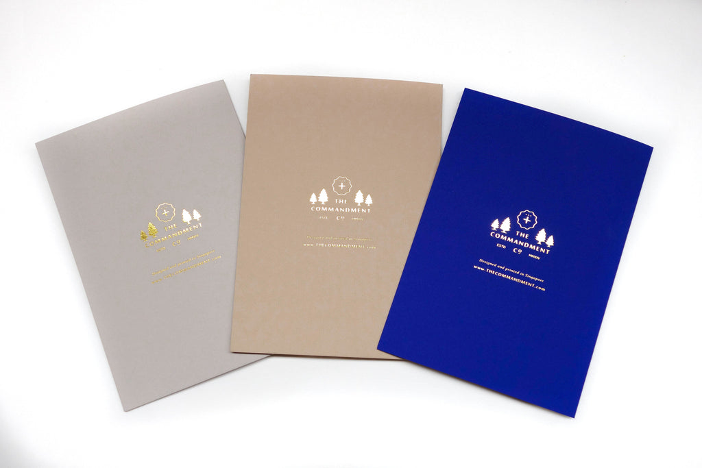 greeting card 3 colours back view commandment logo