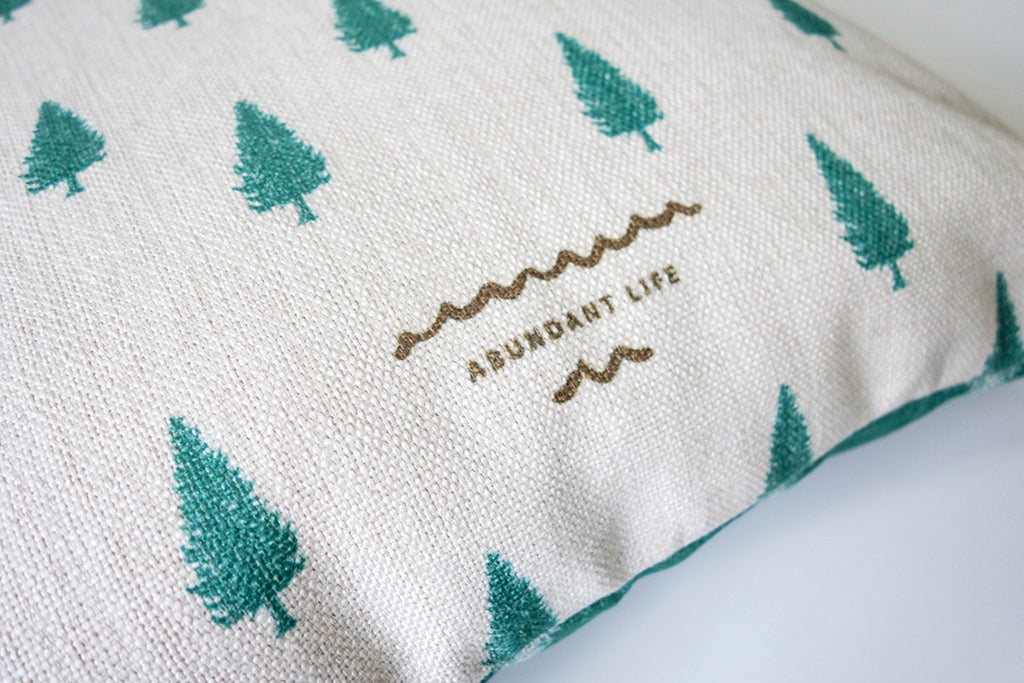 close up of the words 'abundant life' on the cushion cover