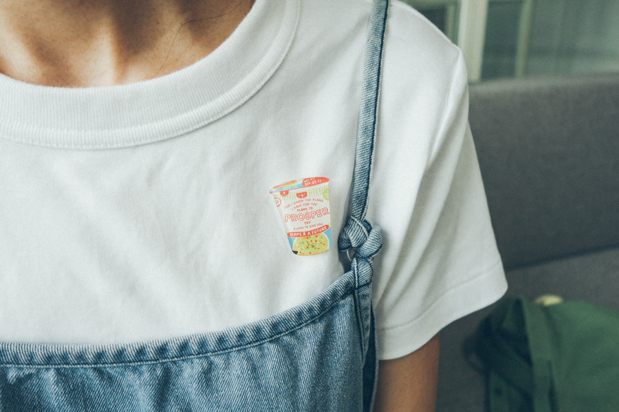Noodles acrylic pin can be pinned on outfits to make it cuter. Wear your inspiration out.