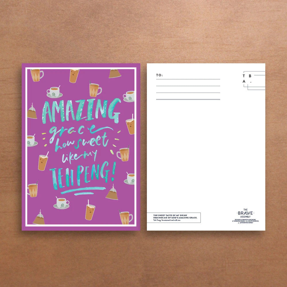 comparison of front and back view of cards featuring Amazing Grace. 300GSM Paper, Purple in colour with teh peng designs