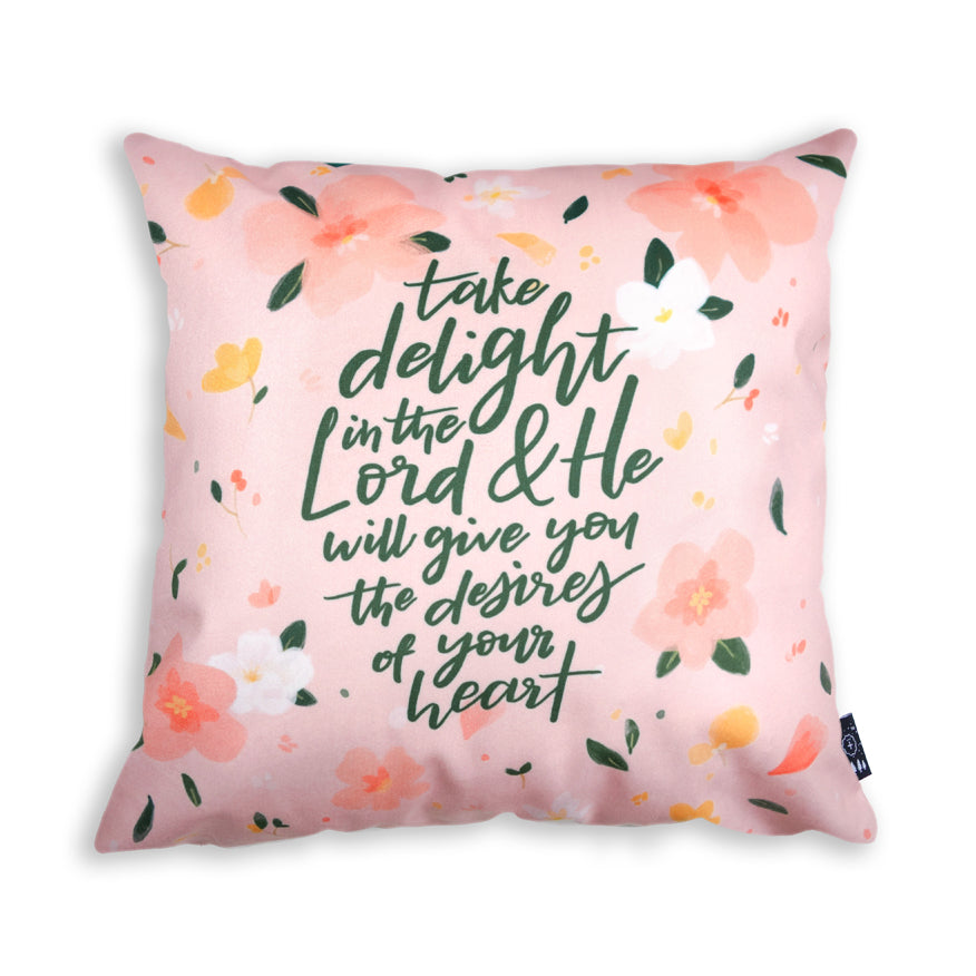 Premium 45cmx45cm pillow cover made of thick super soft velvet, pink with floral designs. With hidden zip feature. Features verse 'Take delight in the lord and he will give you the desires of your heart'.