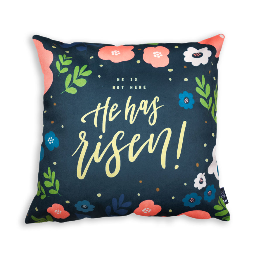 He is not here, He has risen! Matthew 28:6 Cushion Cover. Premium 45cmx45cm pillow cover made of thick super soft velvet,  white with designs of small mountains and trees. With hidden zip feature.