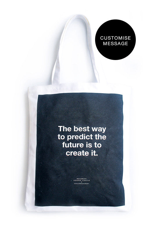 Customisable tote bag. Outer and inner tote bag can be customised with your own message.