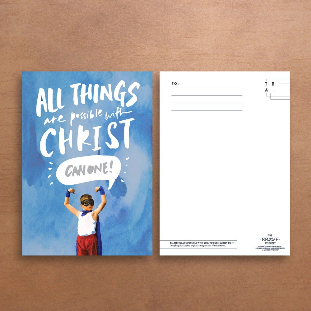 Blue Christian verse card front and back view. ( 250GSM Maple Paper, Printed in Singapore) design: All things are possible