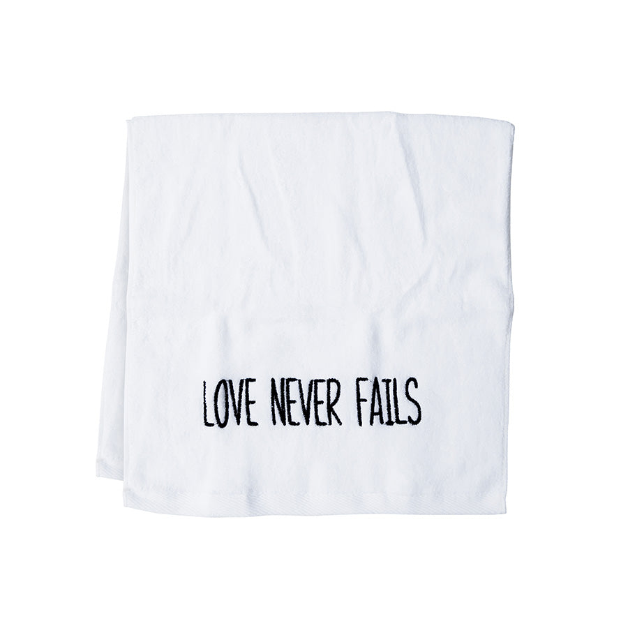 stylish gift idea sport towel Love Never Fails white in color