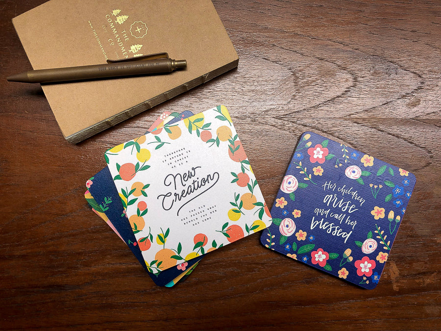 Collection of Christian coasters with motivational and uplifting messages.
