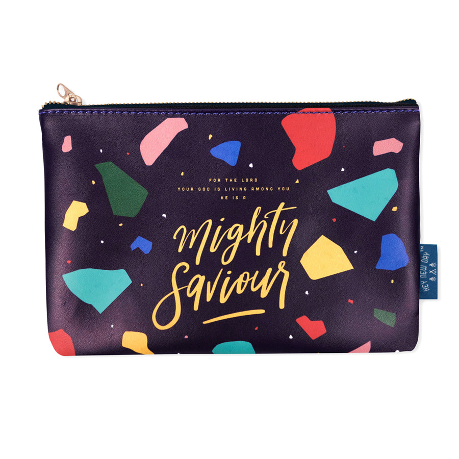 Multipurpose PU Leather pouch in black with terrazzo designs on it. Features bible verse 'Mighty saviour ' in white lettering and is great Christian gift idea. The pouch has inner lining, gold zip. Dimensions: 21cm (W) x 14cm (H)