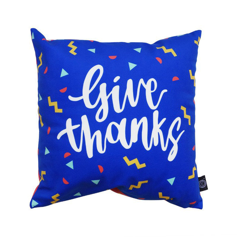 Give thanks cushion cover with confetti details.