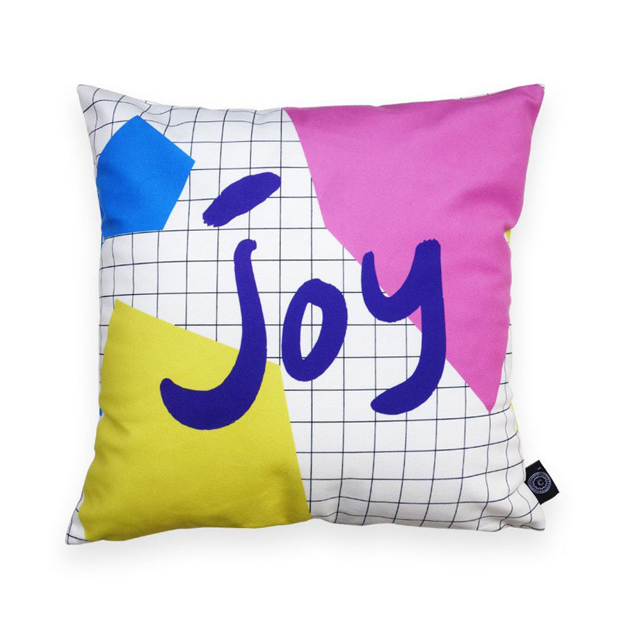 Premium 45cmx45cm pillow cover made of thick super soft velvet,  white with grid and abstract designs. With hidden zip feature. Features verse 'Joy'.