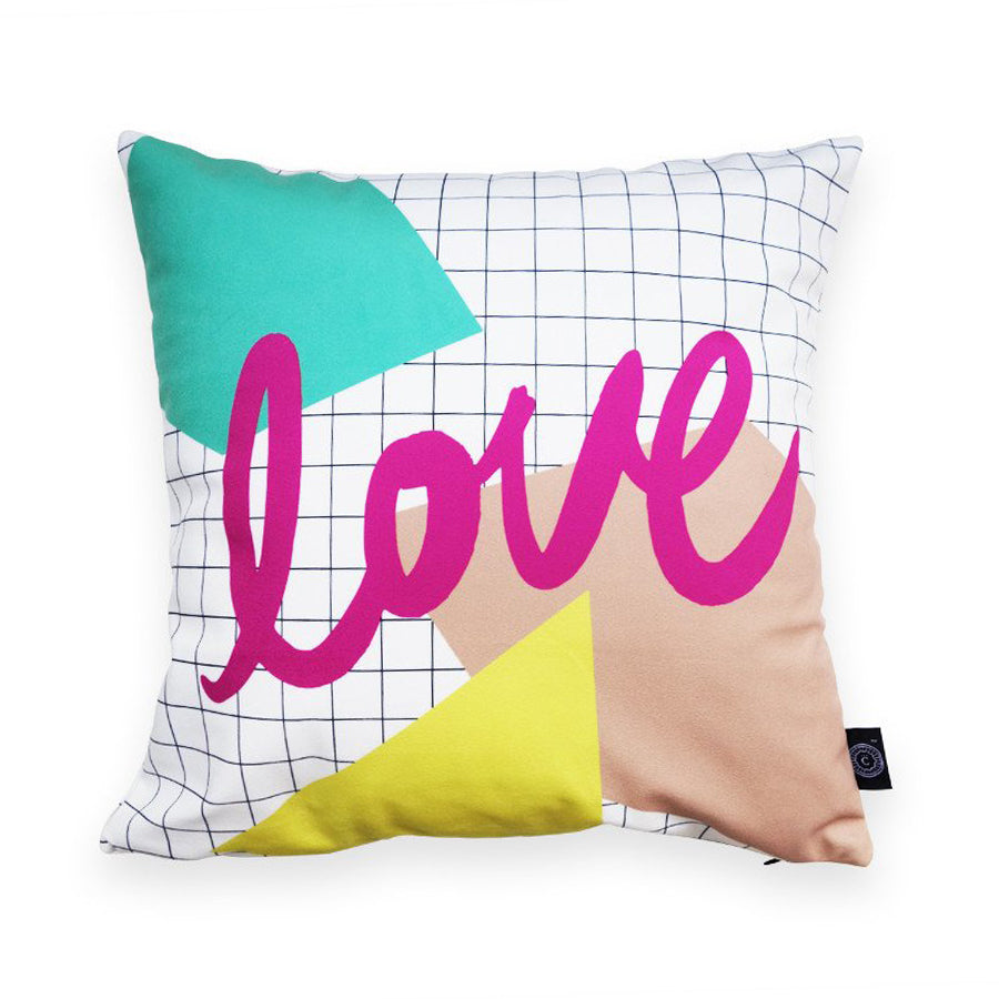Premium 45cmx45cm pillow cover made of thick super soft velvet,  white with grid and abstract designs. With hidden zip feature. Features verse 'Love'.