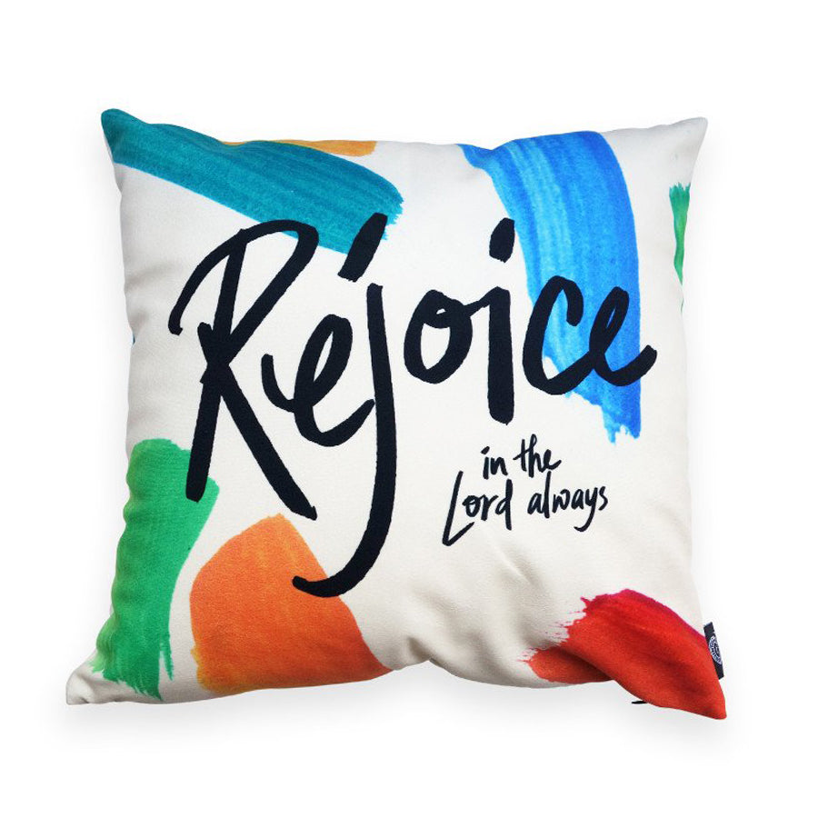 Premium 45cmx45cm pillow cover made of super soft velvet, brush colour theme. With hidden zip feature. Features 'Rejoice in the Lord always'.