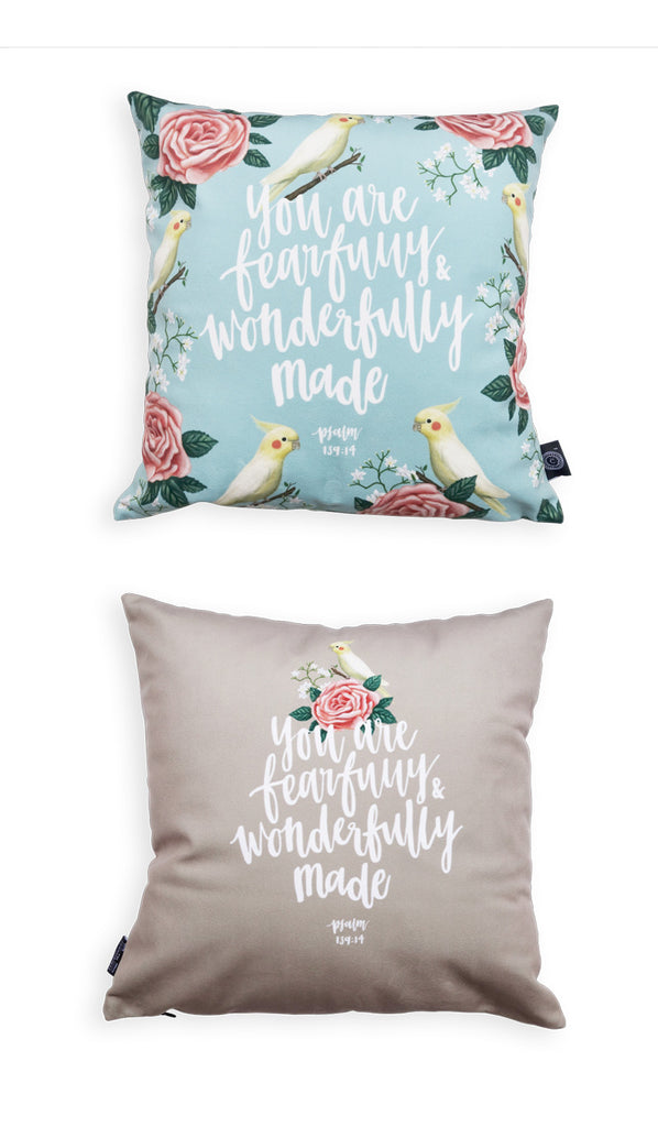 Commandment_Co_bird_Cushion_Cover_Design_floral_You_are_fearfully_and_wonderfully_made