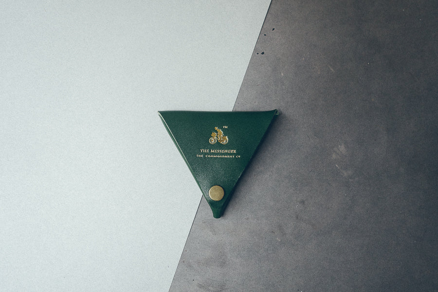 Triangular green coin pouch