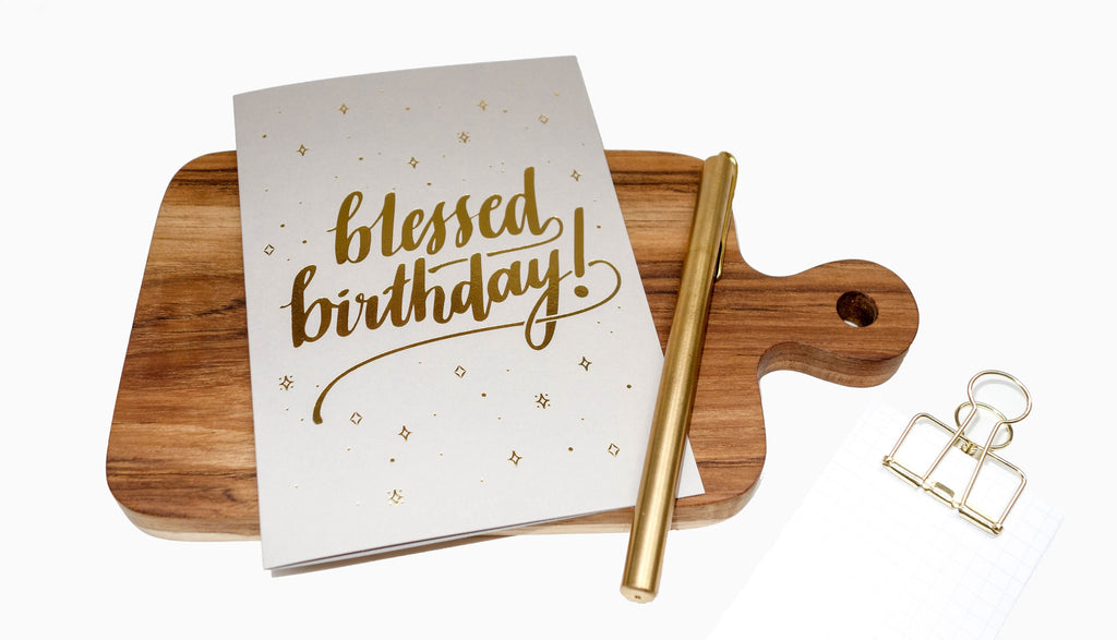 blessed birthday greeting card in grey