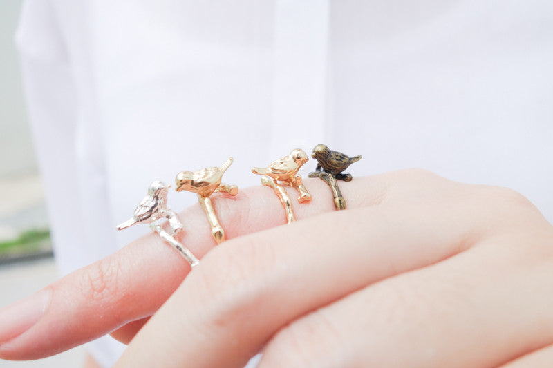 Singing birds of paradise ring. 4 colour choices: gold, silver, 18k gold, bronze