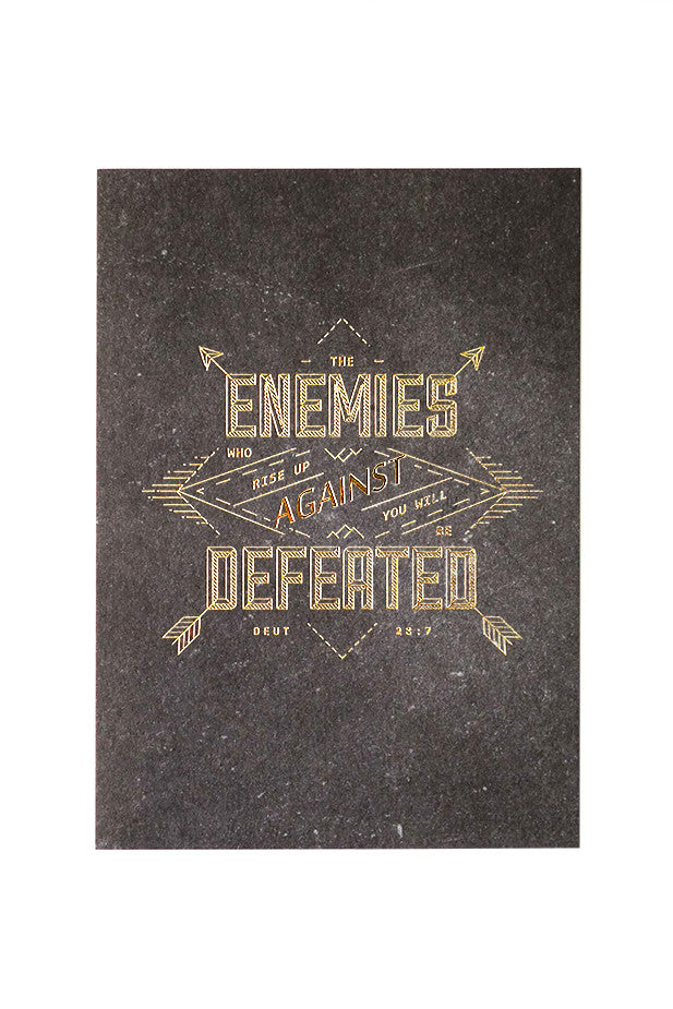 The enemies who rise up against you will be defeated verse card by local christian store The Commandment Co