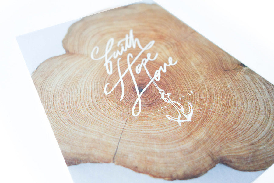 Inspirational and meaningful card carrying inspirational messages. Wood rings design