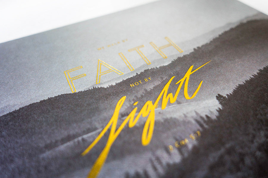 The font on the greeting card is gold stamped to add to the premium look.