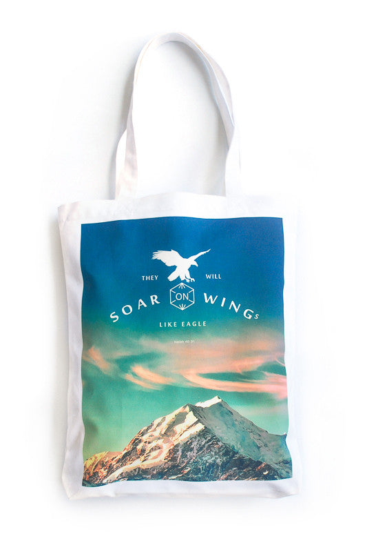 Soar on wings like eagles tote bag with aurora background