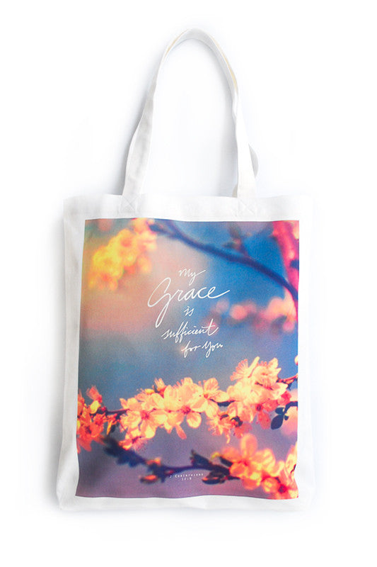 Tote bag made of 100% organic cotton from India. Features 'My grace is sufficient for you'.