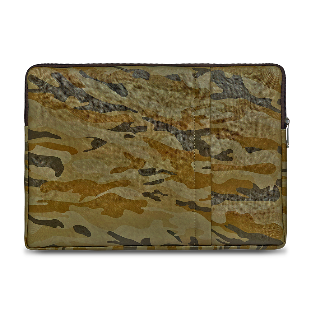 Polyurethane Laptop sleeve with camouflage army  design. Can fit 13 inch laptop or tablet.