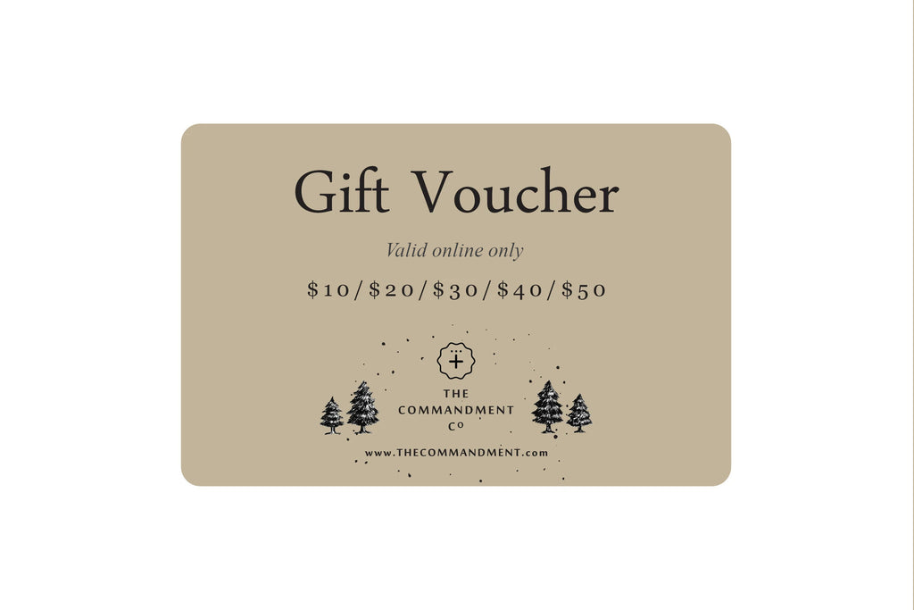 The Commandment Co gift voucher makes awesome gifts if you do not know what to get someone. It can only be used instore.