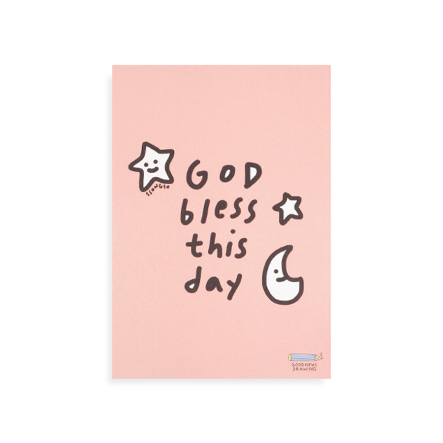 God Bless This Day | Moon & Stars {Postcard}