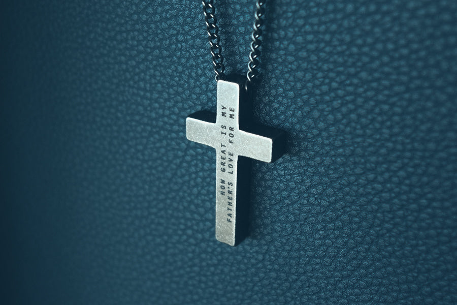 Personalised cross necklace for Father's Day.