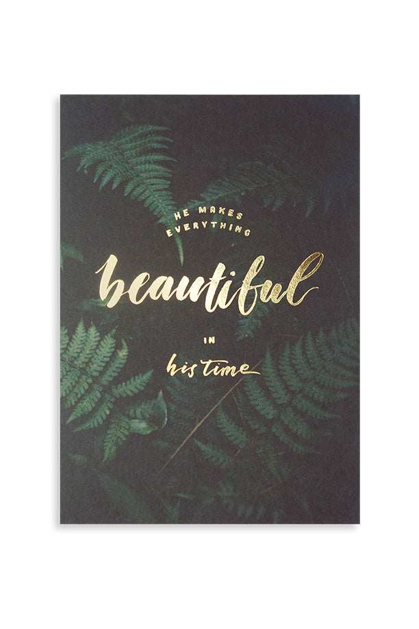 He makes everything beautiful in his time, inspirational bible quotes card design.