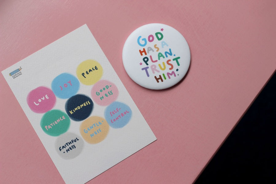 God has a plan. Trust him mirror and circular stickers with the 9 fruits of the spirit