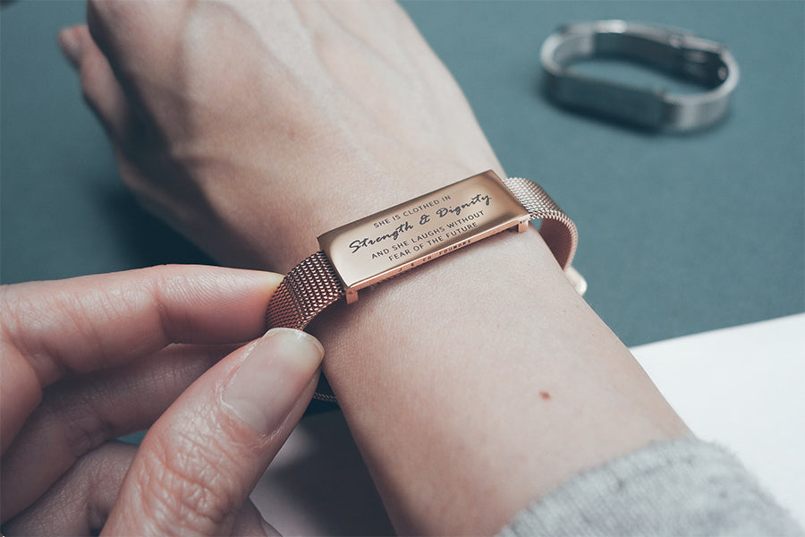 Rose gold bracelet, She is clothed with strength and dignity.
