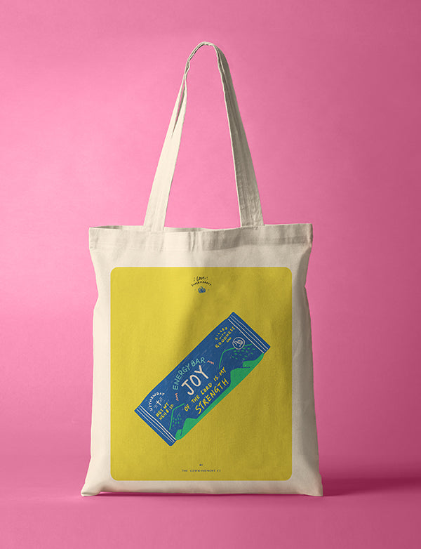 10oz cotton canvas tote bag with joy bar designs.