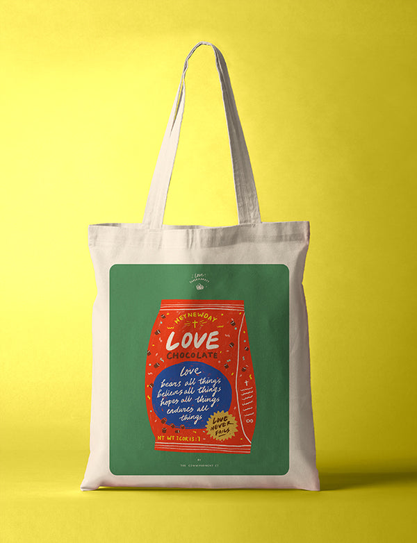 LOVE Chocolates cotton canvas tote bag