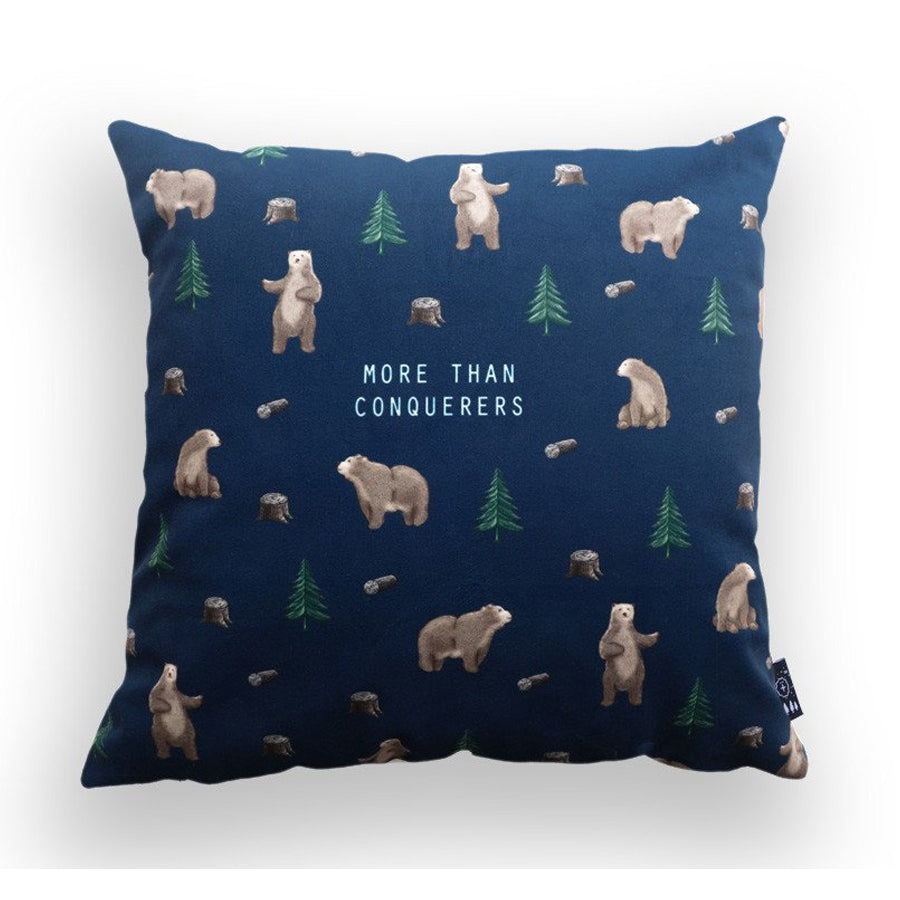 Premium 45cmx45cm pillow cover made of thick super soft velvet,  navy with bear designs. With hidden zip feature. Features verse 'More than conquerors'.