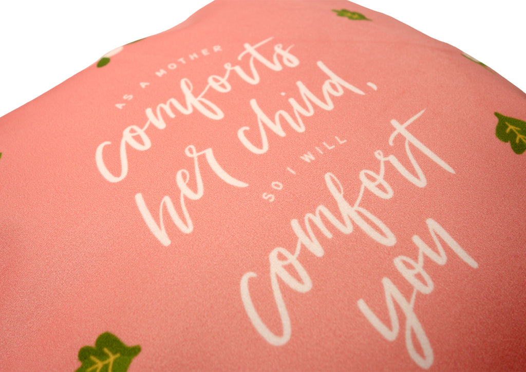 Close up of Premium 45cmx45cm pillow cover made of super soft velvet, salmon pink colour theme. With hidden zip feature. Features Isaiah 66:13